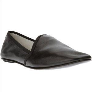 Acne studios black leather slipper loafer slides